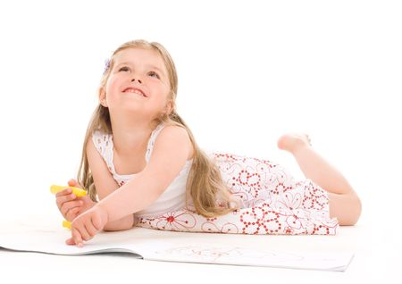 Lovely girl painting with soft-tip pen isolated Stock Photo