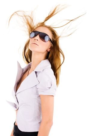 Sexy isolated young woman in stylish sunglasses Stock Photo - 3427375