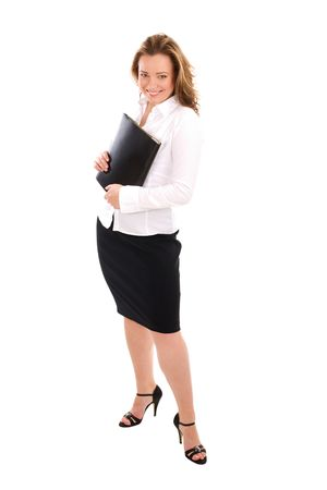 lawer: Standing successful young attractive business woman in white shirt