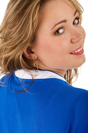 Attractive young caucasian woman in blue tshirt photo