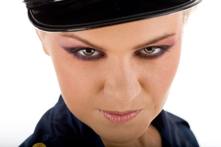Close-up potrait of young sexy police woman photo