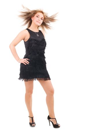 flying hair: Dancing woman with flying hair on isolated background Stock Photo