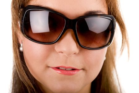 Close-up portrait of young woman's fase in sunglasses Stock Photo - 3641093