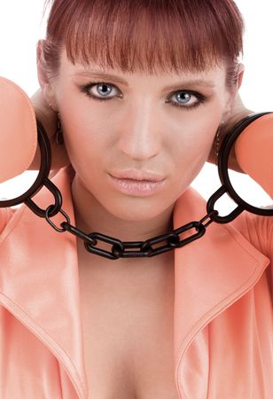 Redhead yougn woman in orange catsuit on isolated background Stock Photo - 3755521