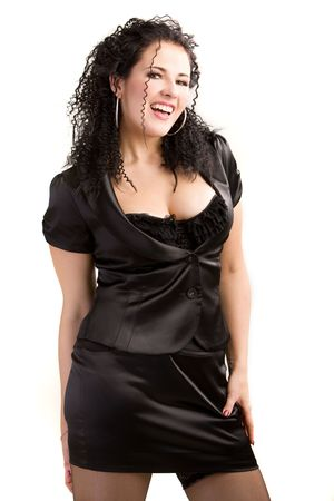 Portrait of playful woman in a black satin dress Stock Photo - 3825789