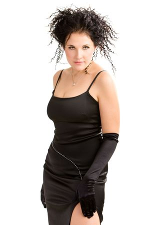 Sexy young woman in black gloves Stock Photo - 3844561