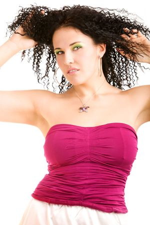 Lovely girl in magenta top on isolated white photo