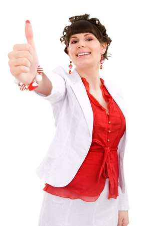 Young woman with thumb up on isolated white photo