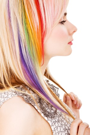Girl with rainbow haircut on isolated white (XXL size)
