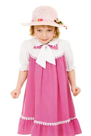 ni�o modelo: Enojado ni�a de vestido rosa aislados en blanco Foto de archivo