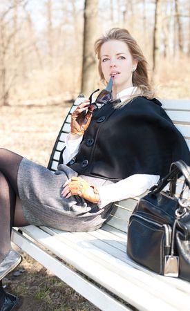 leather skirt: Cute girl enjoying spring sunny day