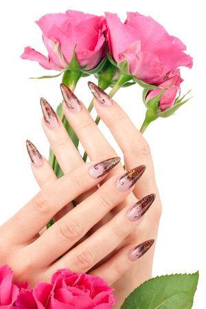 Closeup image of beautiful nails and woman fingers Stock Photo