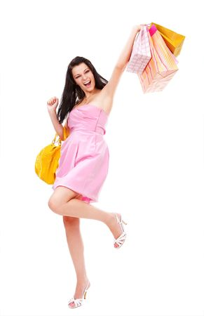 Young happy woman with shopping bags photo