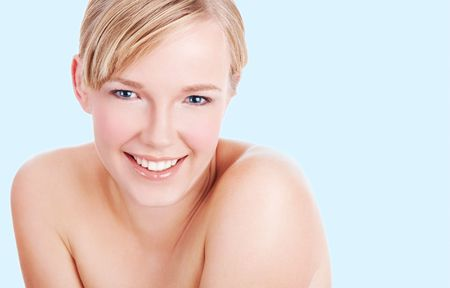 Closeup portrait of beautiful clean face of young woman Stock Photo