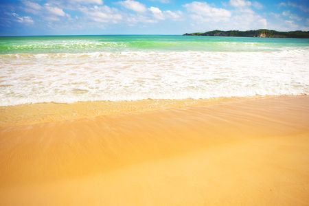 Beautiful colorful sandy Macao beach in Caribbean sea photo