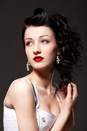 Portrait of beautiful burlesque girl photo