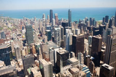 Panoramic view of Chicago city during summer day photo