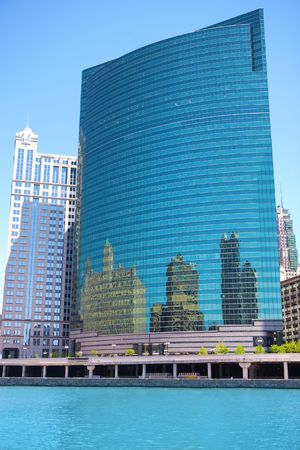 Reflections in office buildings in Chicago photo
