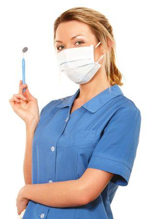 isol� sur fond blanc: Jeune infirmi�re dentaire attrayante sur fond blanc isol� Banque d'images