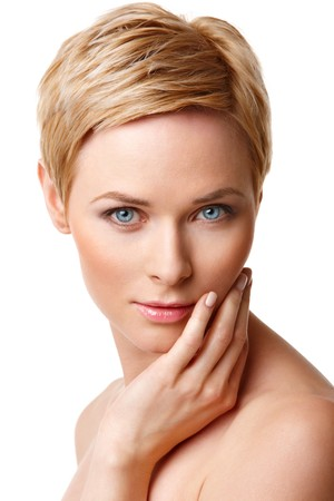 Closeup portrait of young caucasian woman with perfect skin Stock Photo - 7940910