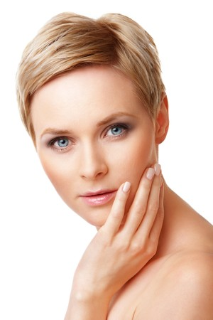 Closeup portrait of young caucasian woman with perfect skin Stock Photo - 8058386