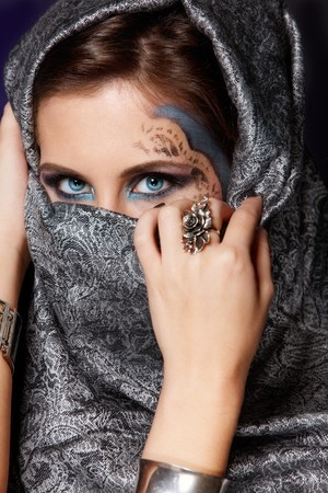 Fashion closeup portrait of muslim woman photo