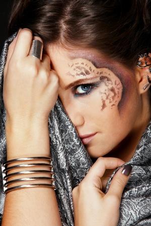 Fashion closeup portrait of muslim woman photo