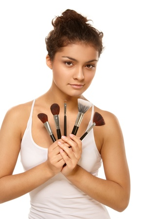 Closeup portrait of woman's face with brushes Stock Photo - 8377237