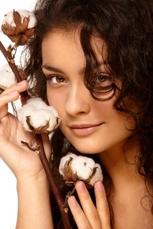 salud sexual: Retrato de un modelo con algod�n Foto de archivo
