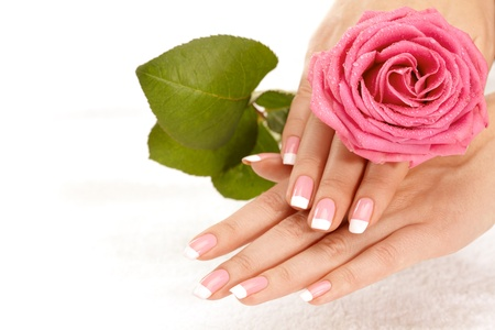 Beautiful manicure nails with a rose Stock Photo - 8663853
