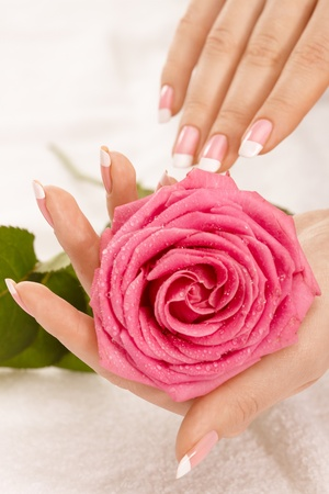 french woman: Beautiful manicure nails with a rose Stock Photo