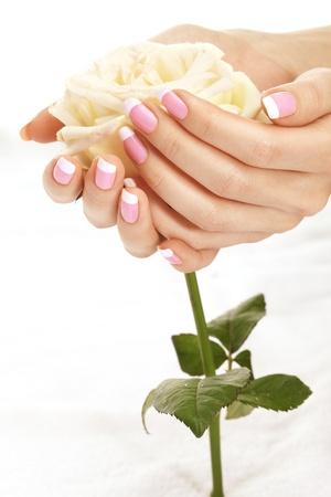 mujer con rosas: Manicura hermoso clavos con una rosa