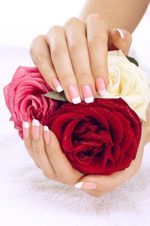 hand towel: Beautiful manicure nails with roses