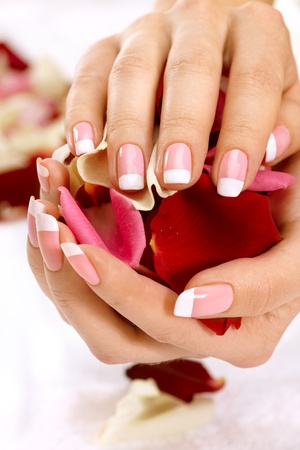 Beautiful manicure nails with roses Stock Photo - 8663858
