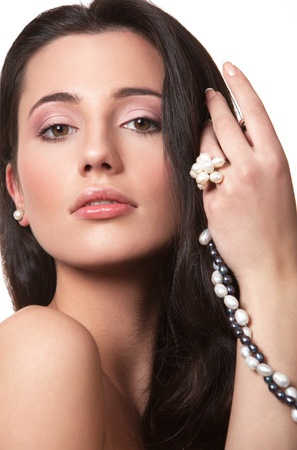 Portrait of beautiful girl with beads of pearl Stock Photo - 9453381