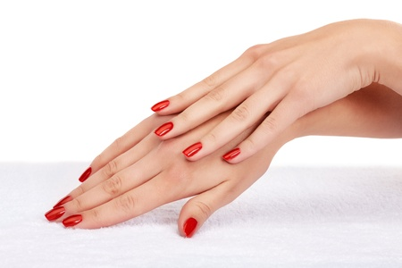Closeup image of red manicure on top of towel Stock Photo - 9650850