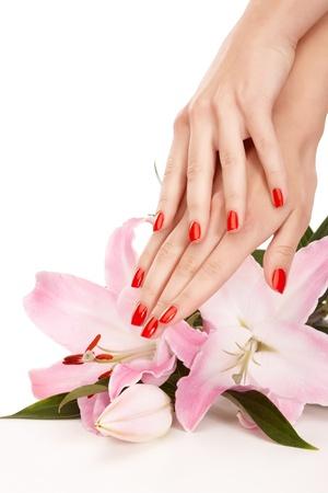 manicura: Imagen de detalle de manicura rojo de toalla
