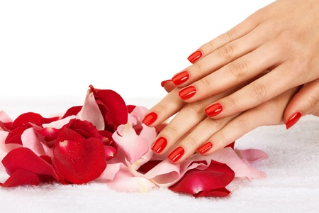 Closeup image of red manicure with leafs of rose Stock Photo - 9944897