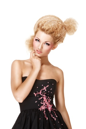 Beautiful blond girl posing over white background photo