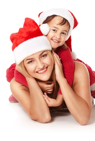 christmass: Portrait of young kid sitting on her mom over isolated white Stock Photo
