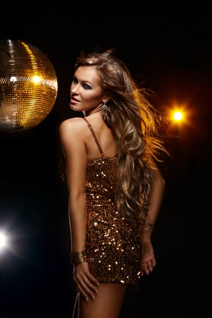 Portrait of dancing girl on disco party Stock Photo