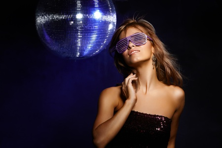 Portrait of dancing girl on disco party Stock Photo - 11713540