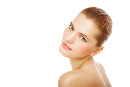 Closeup beauty portrait of a young woman over isolated white Stock Photo