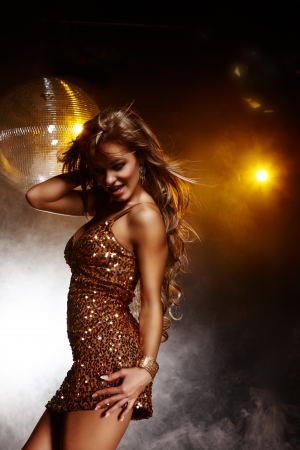 Portrait of dancing girl on disco party Stock Photo - 12296076
