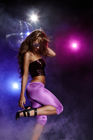 party girl: Portrait of dancing girl on disco party Stock Photo