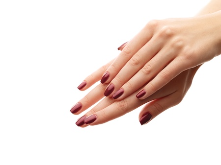 Female hands with perfect manicure over white isolated background Stock Photo - 16298047
