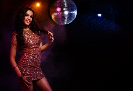 Portrait of dancing girl on disco party Stock Photo - 17314595