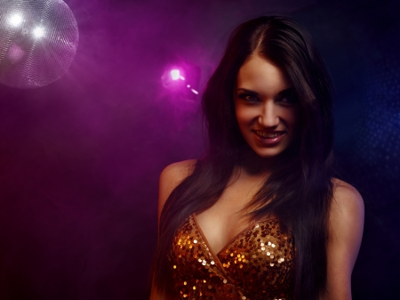 Portrait of dancing girl on disco party Stock Photo - 17289485