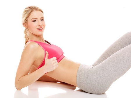 yoga pants: Young female athlete doing aerobics