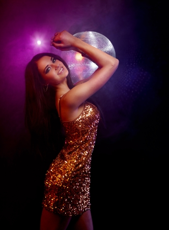 sexy dancer: Portrait of dancing girl on disco party Stock Photo